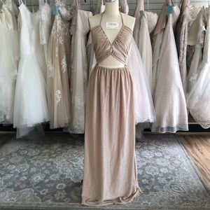 Shimmery Gold Dress with Front Cut Outs